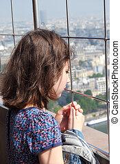 Girl on the Eiffel Tower.