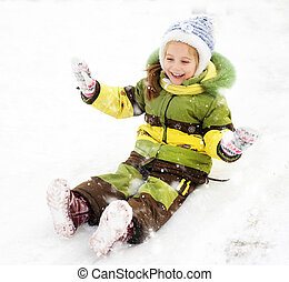 Girl on the ice slide