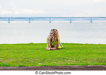 girl on the lawn
