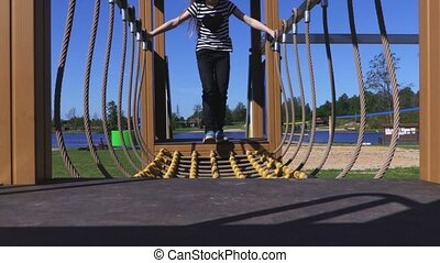 Girl on the obstacle course
