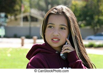 Girl on the phone - Teenage girl on the phone