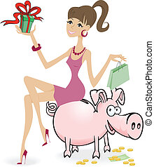 cartoon girl with purchase, sitting on a piggybank