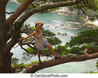 girl on the pine branch