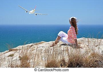 Girl on the rock. Cyprus