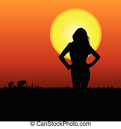 girl on the safari vector illustration