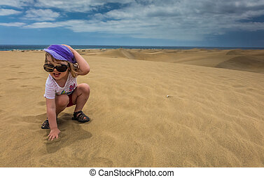 Girl on the sand dunes