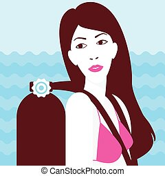 Girl on the sea background