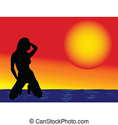 girl on the sea vector illustration