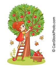 Girl on the stairs collects apples.
