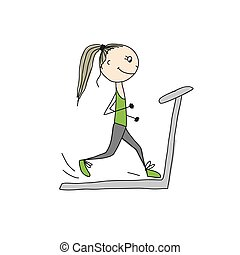 Girl on treadmill, sketch for your design