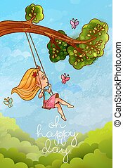 "Girl on tree swing in front of blue sky. Hapy life concept. ""Oh happy day"" lettering"