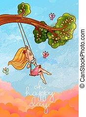 "Girl on tree swing in front of romantic cloudscape. Hapy life concept. ""Oh happy day"" lettering"