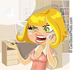 Girl on work  swears by phone