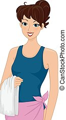 Girl One Piece Bathing Suit - Illustration of a Woman...