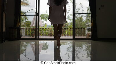Girl Open Balcony Go Out To Terrace Back Rear View, Morning View Of Tropic Forest