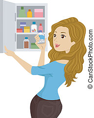 Girl Opening a Medicine Cabinet - Illustration of a Girl...