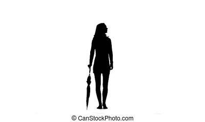 Girl opens the umbrella. White background. Silhouette - Girl...