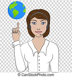Girl operator points to the globe.