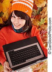 girl, orange part, laptop., automne, automne, sale.