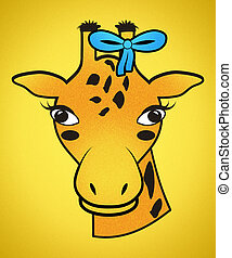 Girl Orange Spotted Giraffe Head Wearing Blue Hair Ribbon with Clipping Path