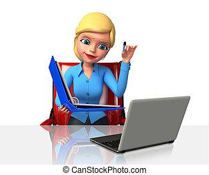 girl, ordinateur portable, bureau