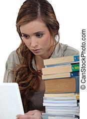 girl, ordinateur portable, fonctionnement, jeune