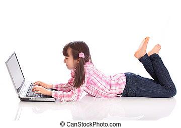 girl, ordinateur portable, heureux