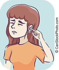 girl, oreille, symptôme, itchy, illustration
