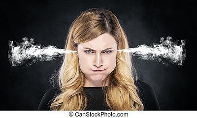 girl., orelhas, ou, fumaça, vapor