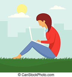 Girl outdoor distant work concept background, flat style