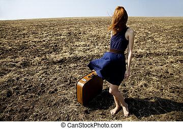 girl, outdoor., valise