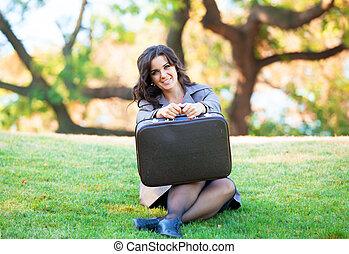 girl, outdoor., valises
