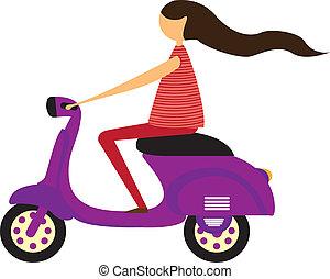 girl over motorbike isolated over white background. vector