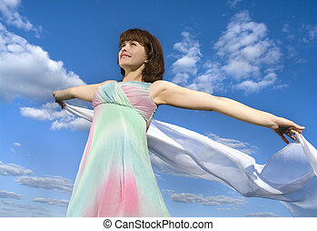 girl over sky background