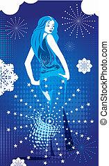 girl over winter background