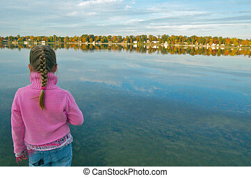 Girl Overlooking Lake