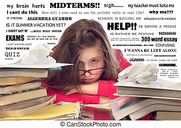 Girl Overwhelmed with Homework - Teenage girl stressed out...