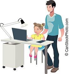 girl, père, devoirs, regarder