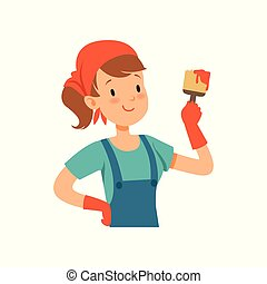 Girl painter character, young professional paint job designer with paintbrush vector Illustration