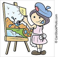 Girl Painting a Landscape on Canvas