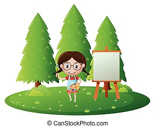 Girl painting on canvas in the park