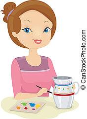Girl Painting Pot