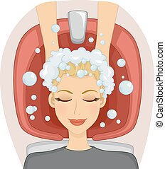 Girl Pampering Salon Hair Shampoo - Illustration of a Girl...