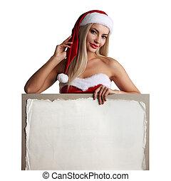 girl, panneau affichage, vide, santa, tenue