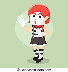 girl pantomime illustration