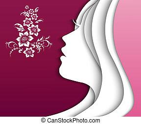 girl paper - beautiful girl head. vector