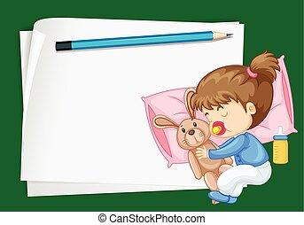 girl, papier, gabarit, dormir