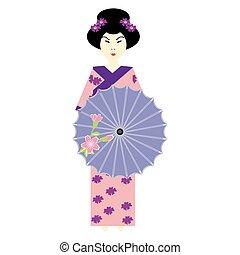 girl, parapluie, japonaise