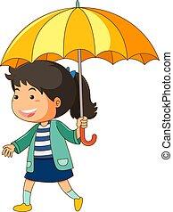 girl, parapluie, jaune