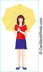 girl, parapluie jaune, jeune